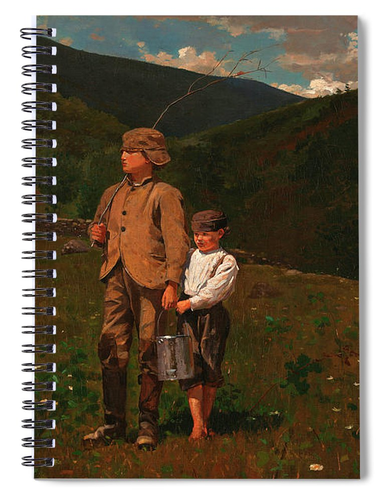 Crossing The Pasture Spiral Notebook featuring the painting Crossing The Pasture by Winslow Homer