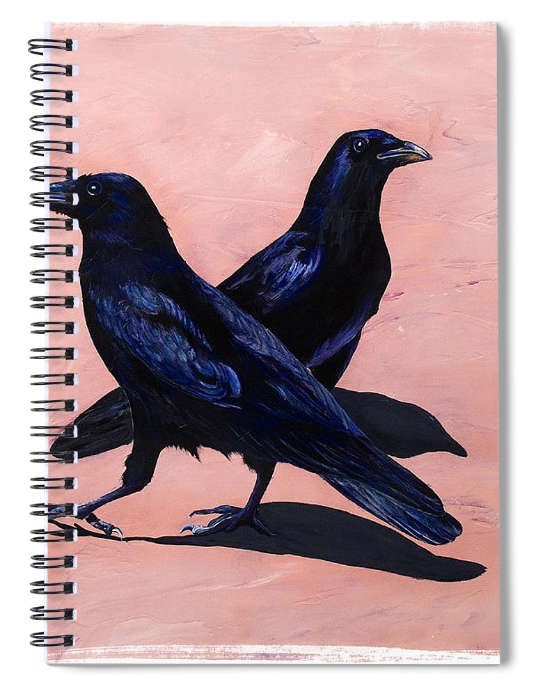 Crows Spiral Notebook featuring the painting Crows by Sandi Baker
