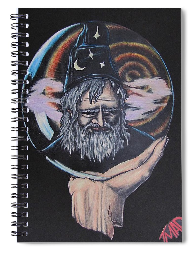 Michael Finney Spiral Notebook featuring the drawing Crystal Wizard by Michael TMAD Finney