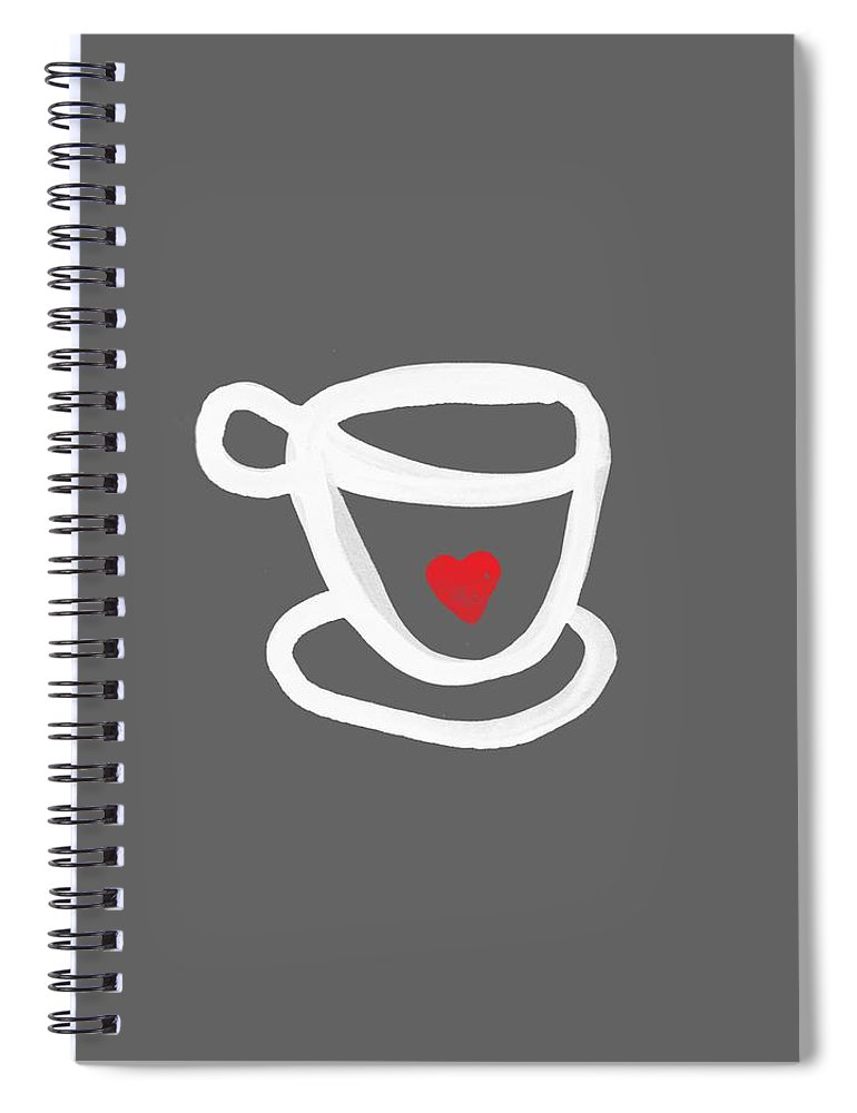 Coffee Spiral Notebook featuring the painting Cup of Love- Shirt by Linda Woods