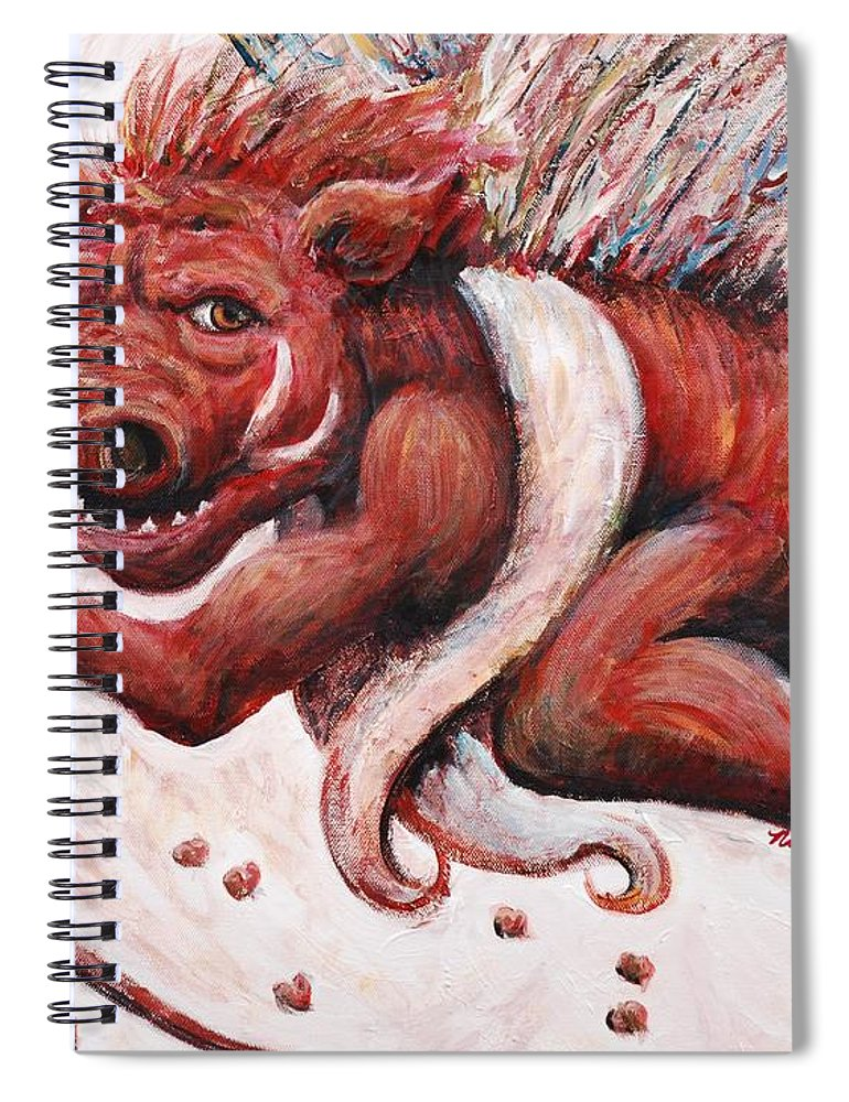 Pig Spiral Notebook featuring the painting Cupig by Nadine Rippelmeyer