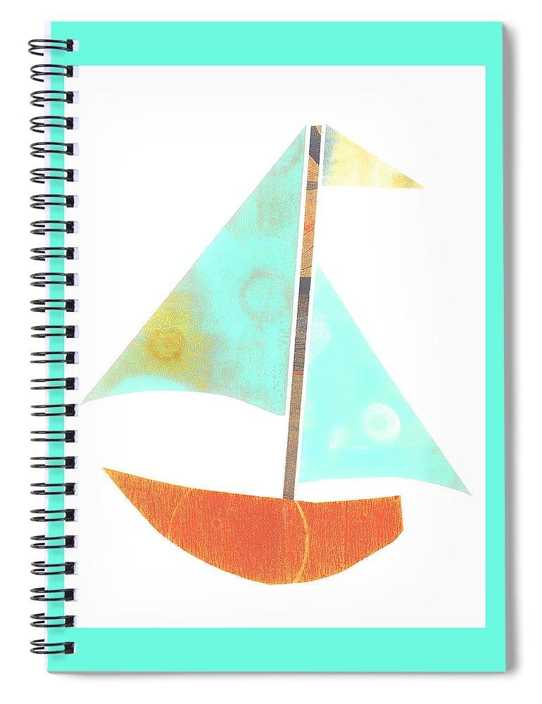 Cute Sailboat Collage Spiral Notebook featuring the mixed media Cute Sailboat Collage 507 by Carol Leigh