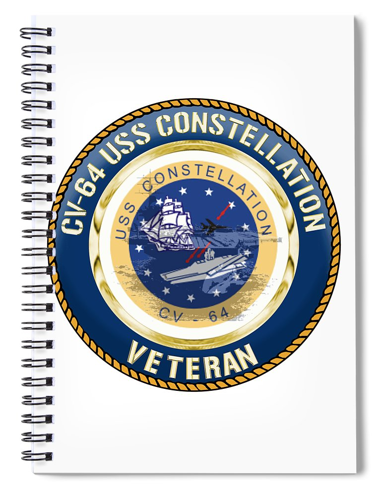 Cv64 Spiral Notebook featuring the digital art Cv-64 Uss Constellation by Mil Merchant