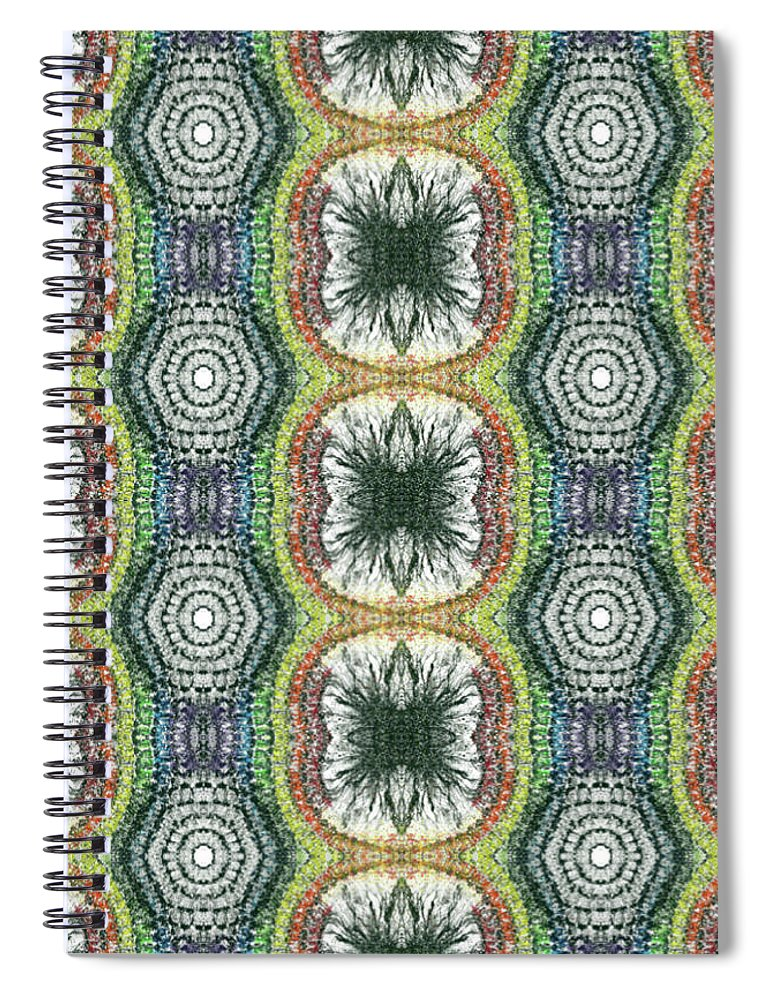 Abstract Spiral Notebook featuring the mixed media Cymatics Geometry #1545 by Rainbow Artist Orlando L