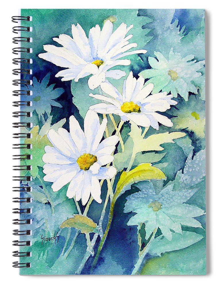 Flowers Spiral Notebook featuring the painting Daisies by Sam Sidders
