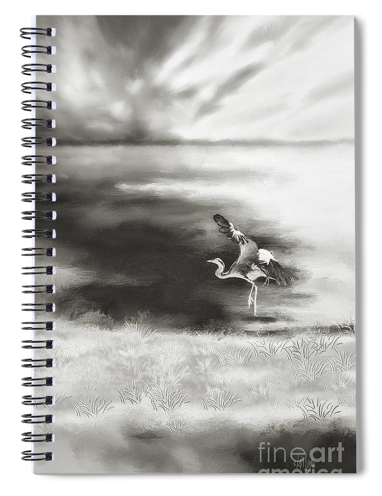 Egret Spiral Notebook featuring the digital art Dance Like Nobody's Watching by Lois Bryan