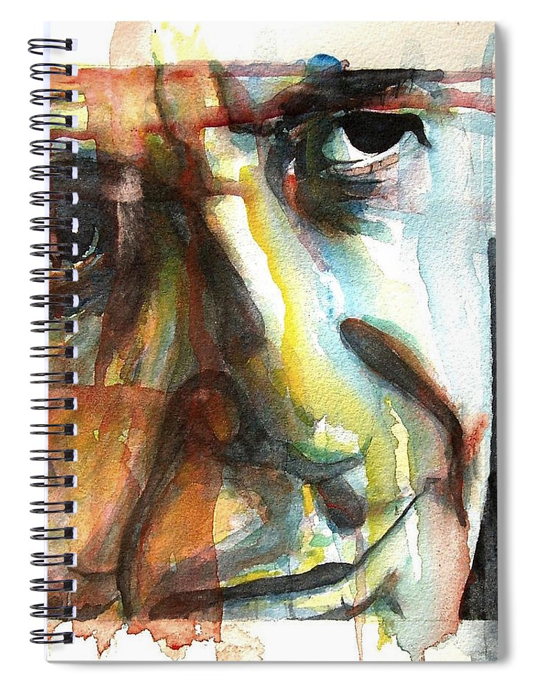 Leonard Cohen Spiral Notebook featuring the painting Dance Me To The End Of Love by Paul Lovering