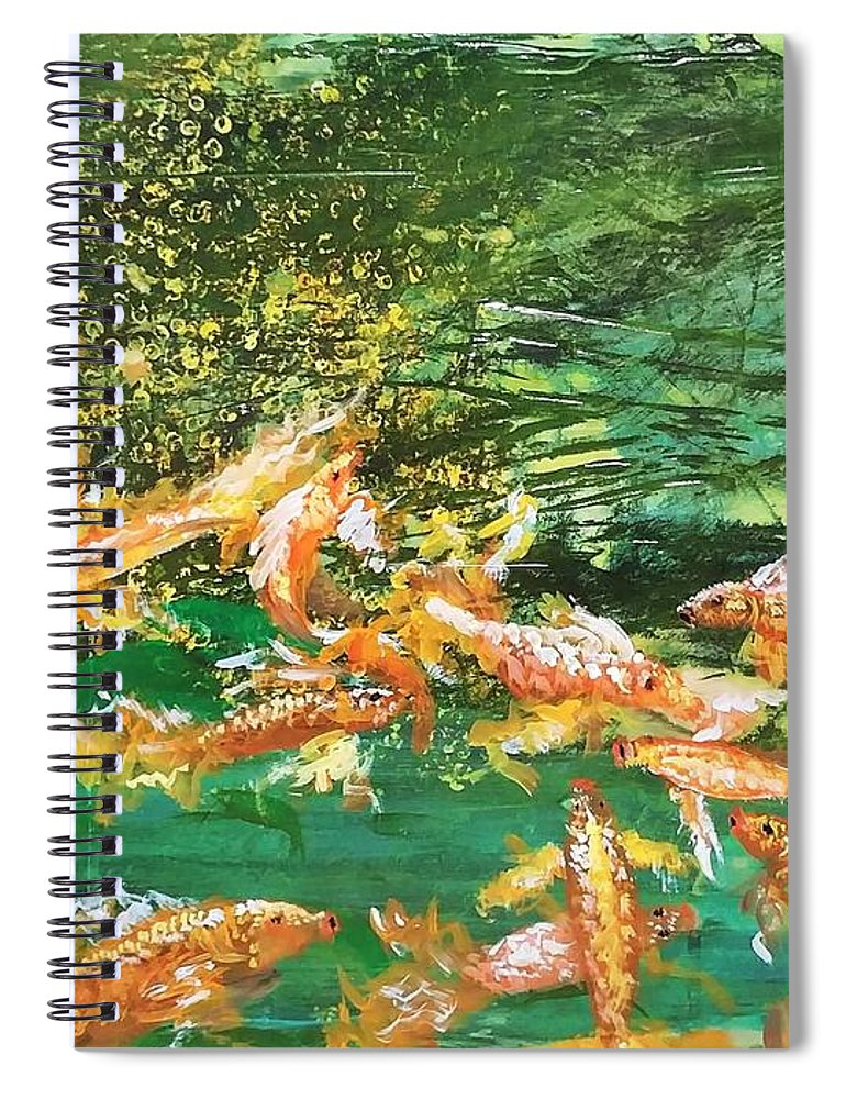 Gold Fish Spiral Notebook featuring the painting Dance of Golden Angels by J Bauer