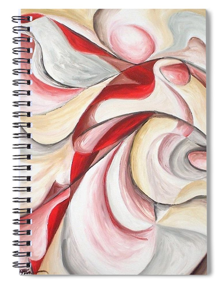 Abstract Spiral Notebook featuring the painting Dancer by Rowena Finn