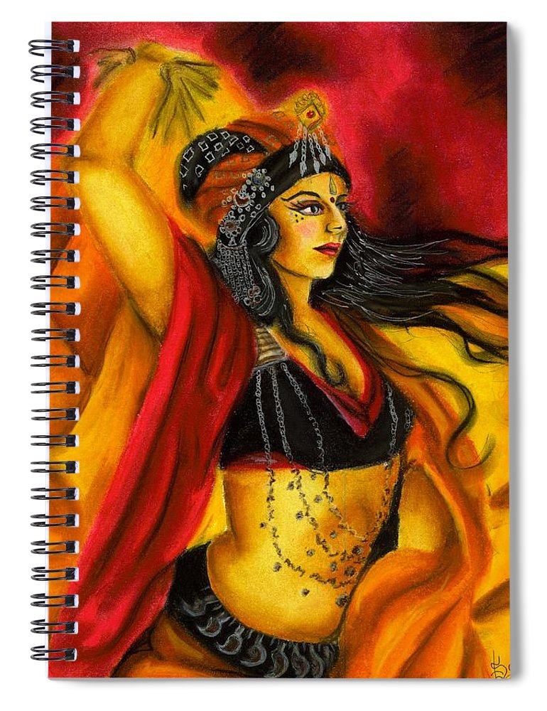 Belly Dancer Spiral Notebook featuring the drawing Dancing with Fire by Scarlett Royal
