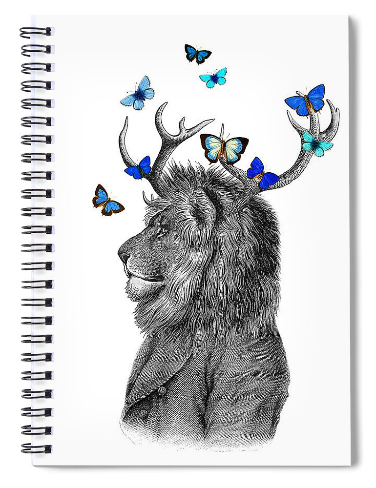 Lion Spiral Notebook featuring the digital art Dandy Lion With Antlers And Blue Butterflies by Madame Memento