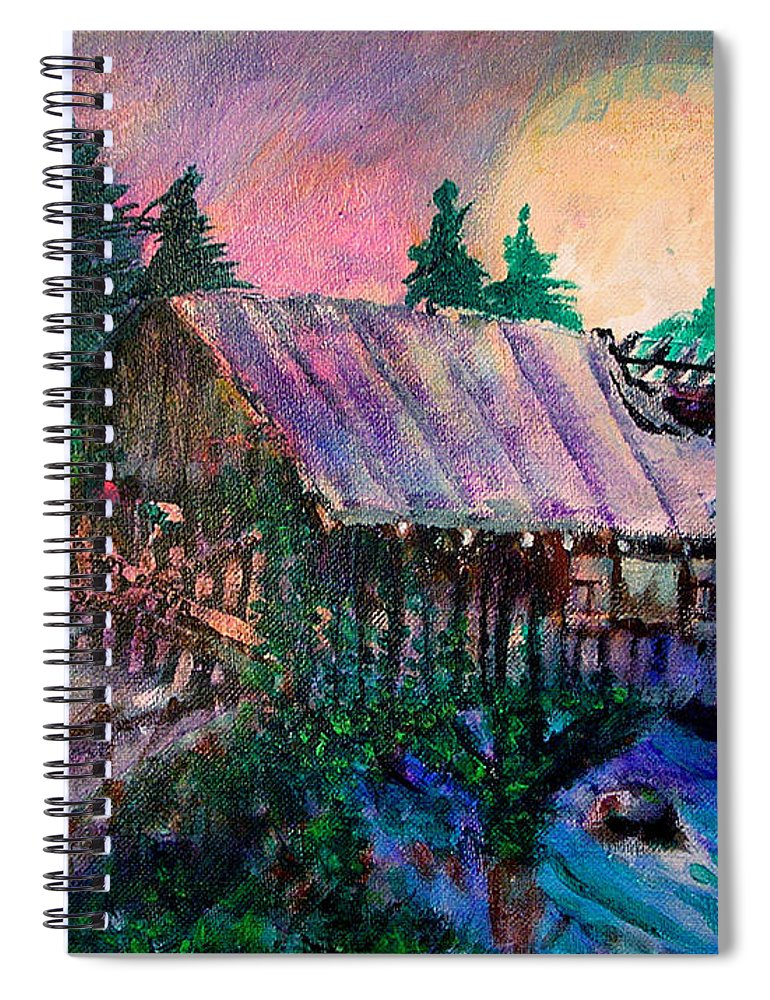 Dangerous Bridge Spiral Notebook featuring the painting Dangerous Bridge by Seth Weaver