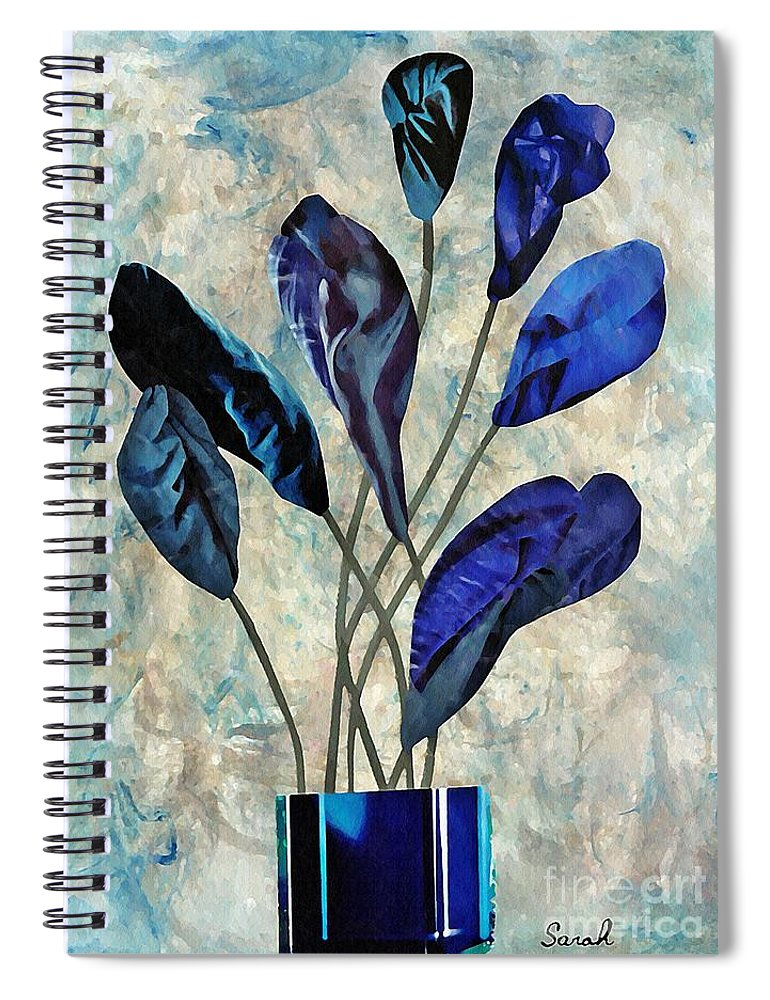 Floral Spiral Notebook featuring the mixed media Dark Blue by Sarah Loft