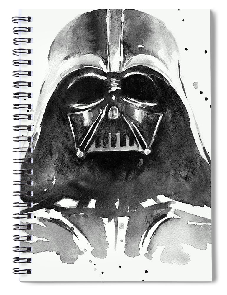 Watercolor Spiral Notebook featuring the painting Darth Vader Watercolor by Olga Shvartsur