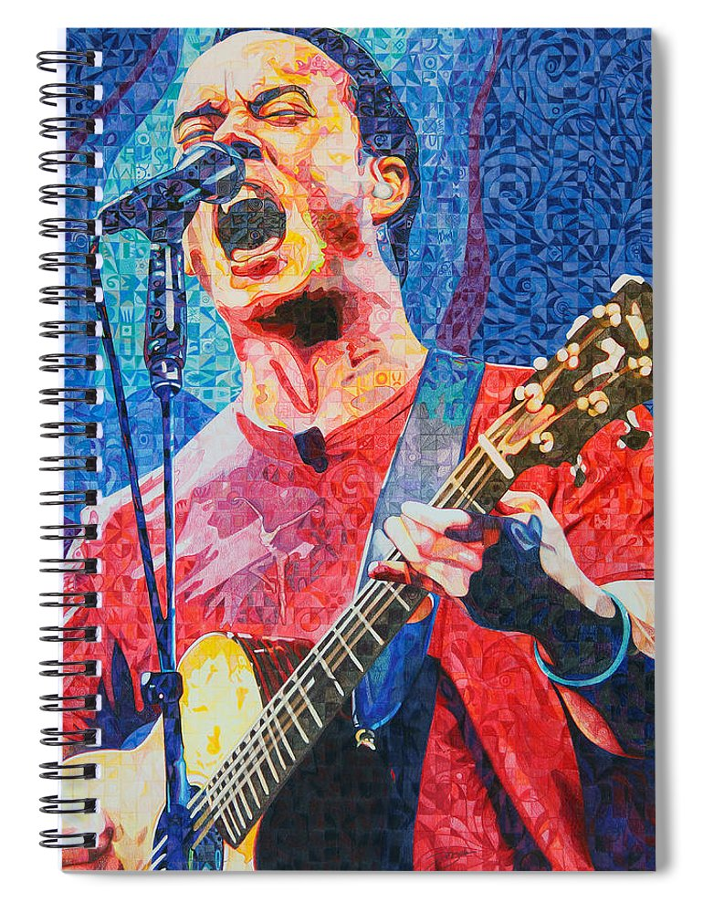 Dave Matthews Spiral Notebook featuring the drawing Dave Matthews Squared by Joshua Morton