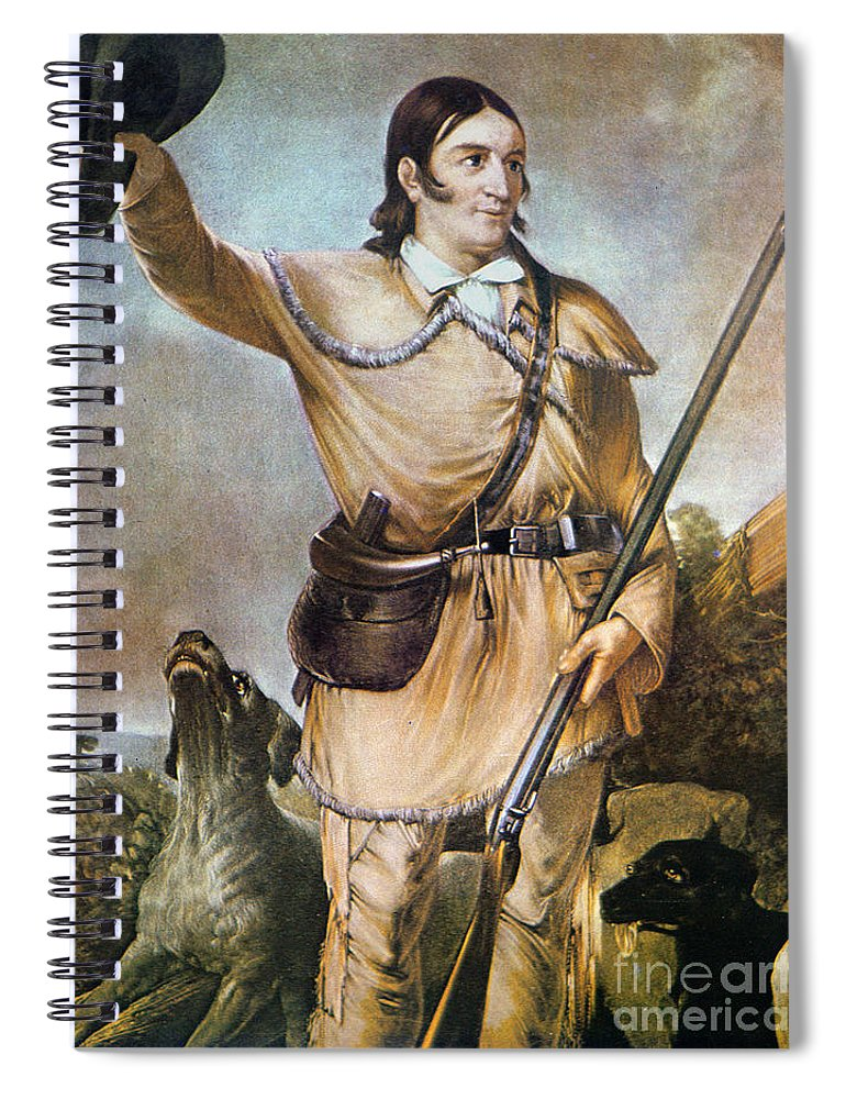 Frontiersman Spiral Notebook featuring the painting Davy Crockett With His Hunting Dogs In 1836 by American School