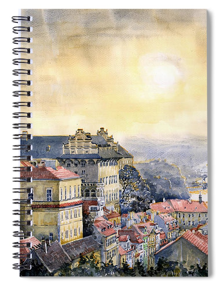 Watercolor Spiral Notebook featuring the painting Dawn Of Prague by Yuriy Shevchuk