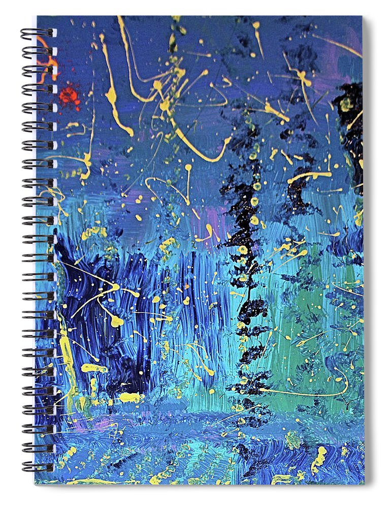 Blue Spiral Notebook featuring the painting Day Light Saving Time by Pam Roth O'Mara