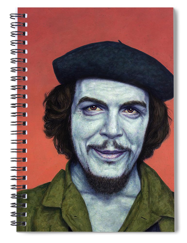 Che Spiral Notebook featuring the painting Dead Red - Che by James W Johnson