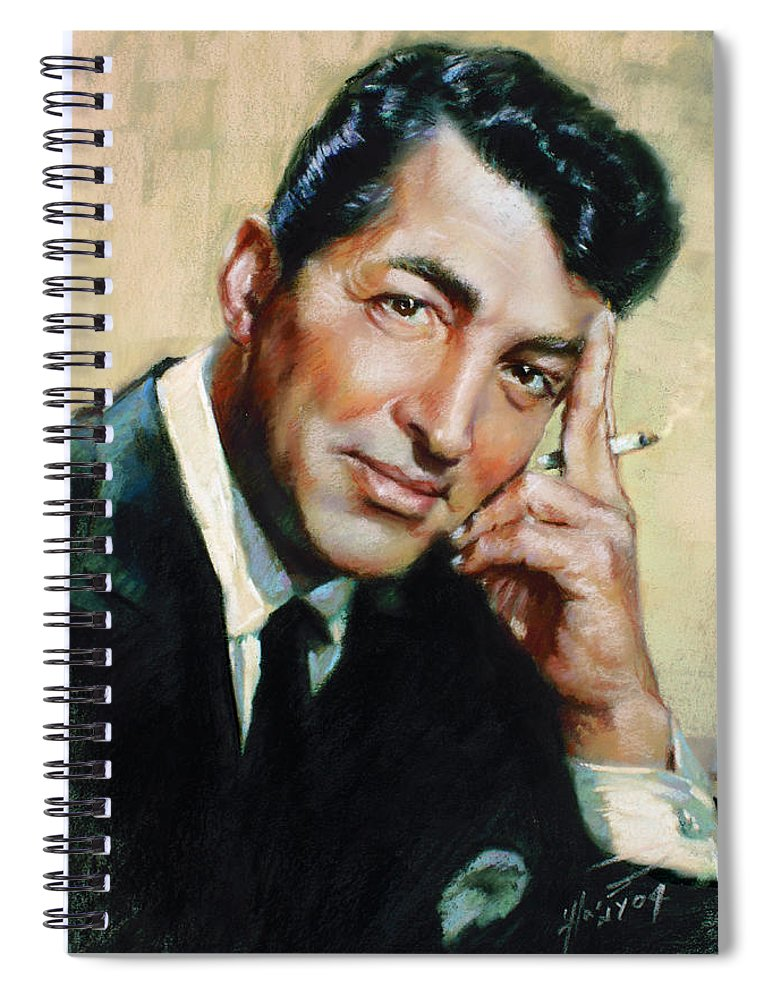 Dean Martin Spiral Notebook featuring the pastel Dean Martin by Ylli Haruni