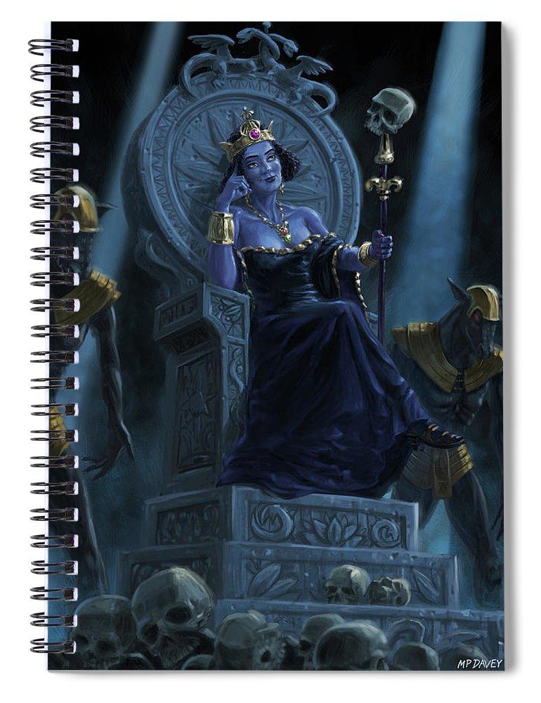 Queen Spiral Notebook featuring the digital art Death Queen On Throne With Skulls by Martin Davey