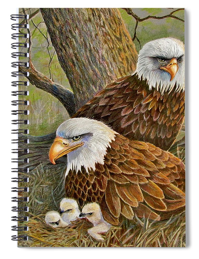 American Bald Eagles Spiral Notebook featuring the drawing Decorah Eagle Family by Marilyn Smith