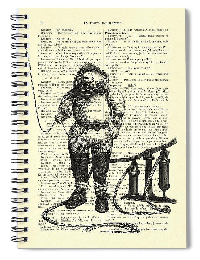 Deep Sea Diver Spiral Notebook featuring the digital art Deep Sea Diver by Madame Memento