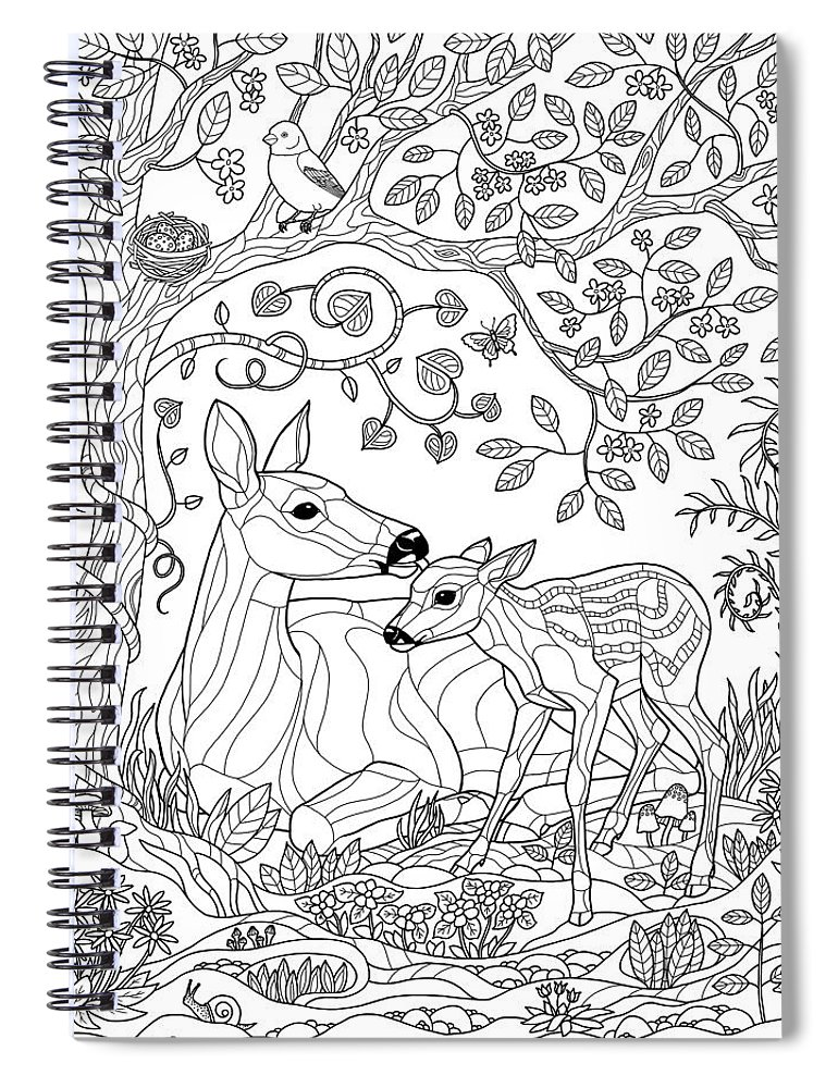 Deer Fantasy Forest Coloring Page Spiral Notebook For Sale By Crista