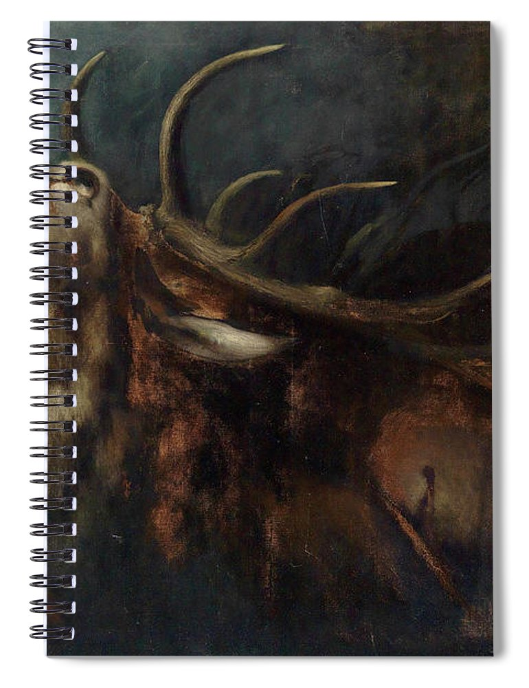 Dying Deer Spiral Notebook featuring the painting Dying Deer by Karl Wilhelm Diefenbach