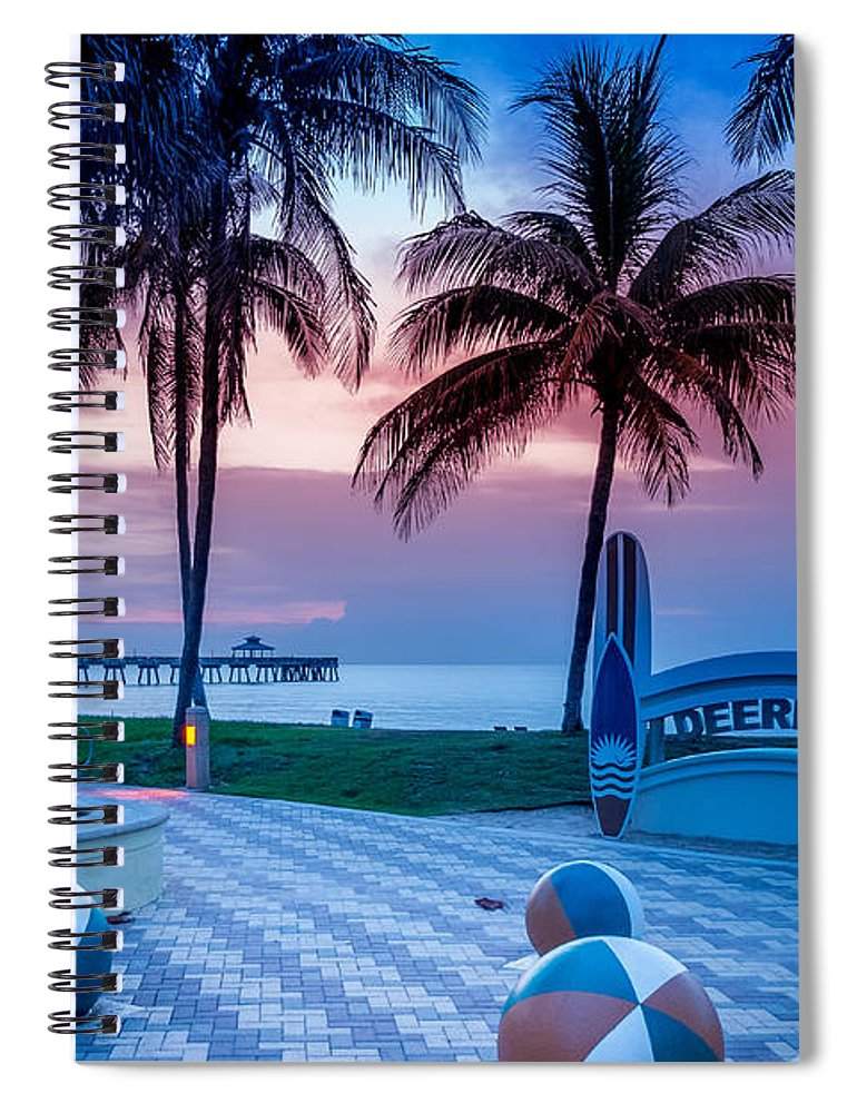 Deerfield Beach Fl Fishing Pier # Fishing Pier # Ocean # Sunrise # Sunrise Florida #  Colorful Sunrise # Spiral Notebook featuring the photograph Deerfield Beach FL Fishing Pier by Louis Ferreira