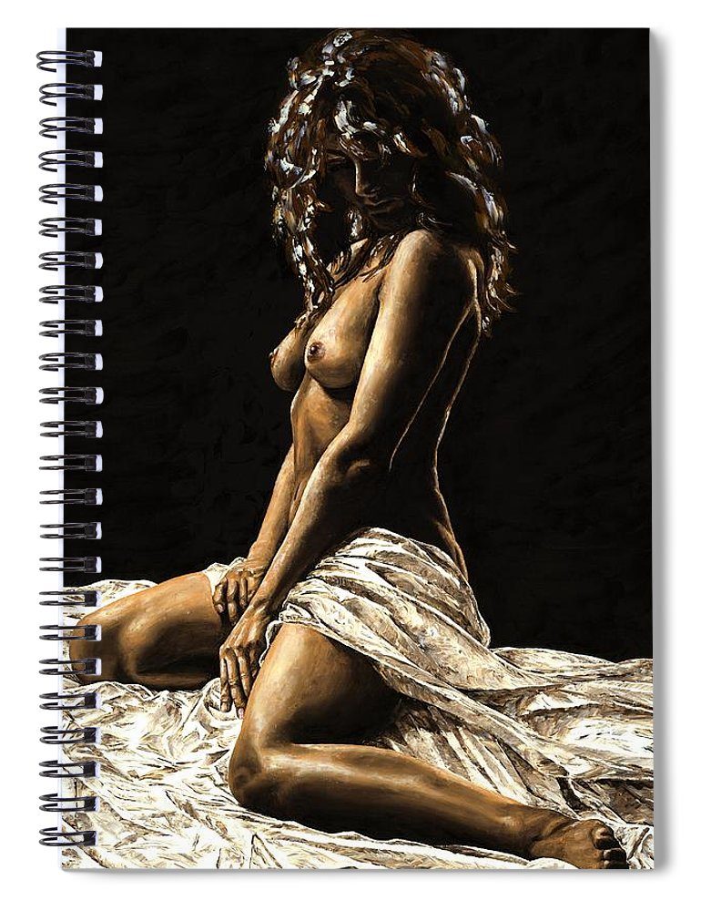 Nude Spiral Notebook featuring the painting Defiance by Richard Young