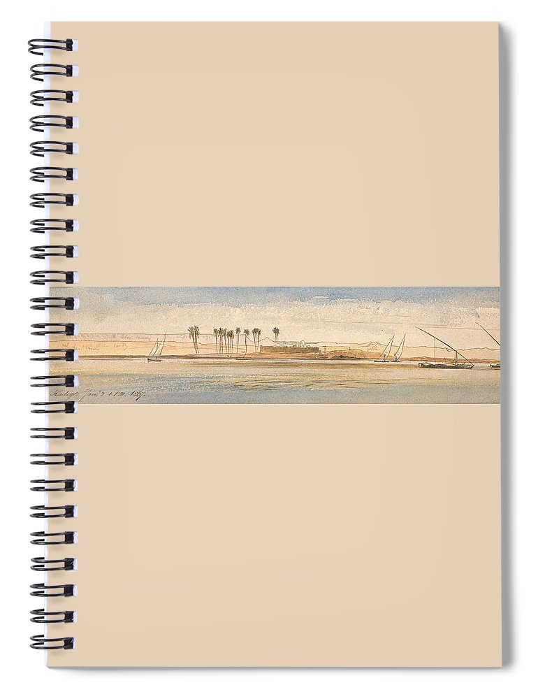 English Art Spiral Notebook featuring the drawing Deir Kadige, 1 P.m., January 2, 1867 by Edward Lear