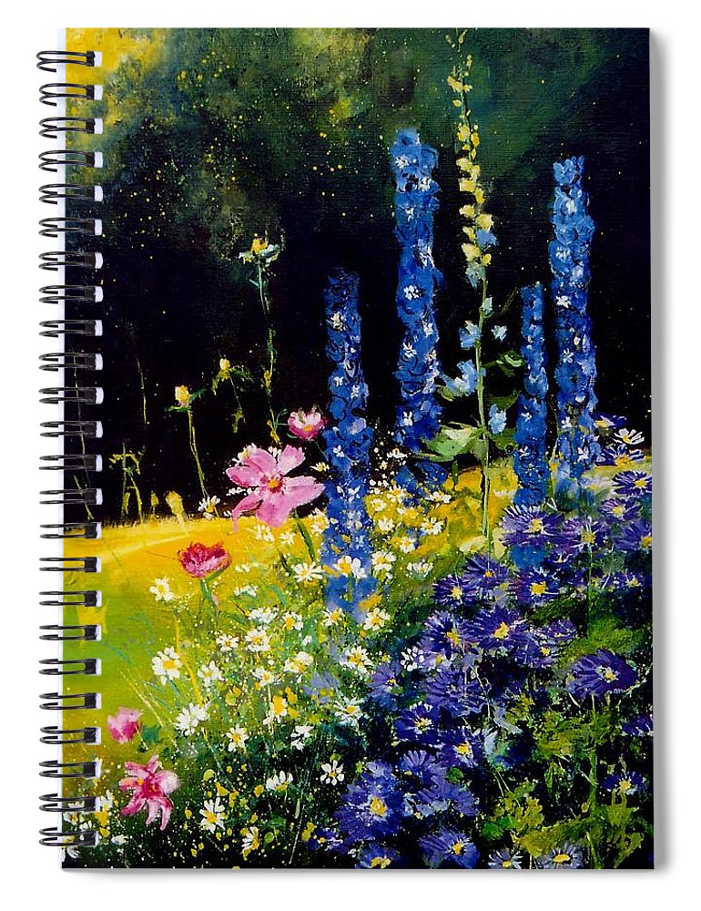 Poppies Spiral Notebook featuring the painting Delphiniums by Pol Ledent