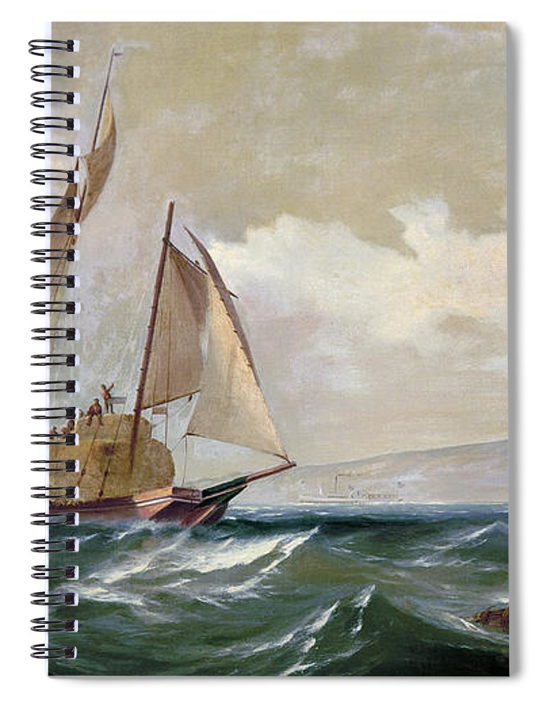 1871 Spiral Notebook featuring the photograph Denny: Hay Schooner, 1871 by Granger