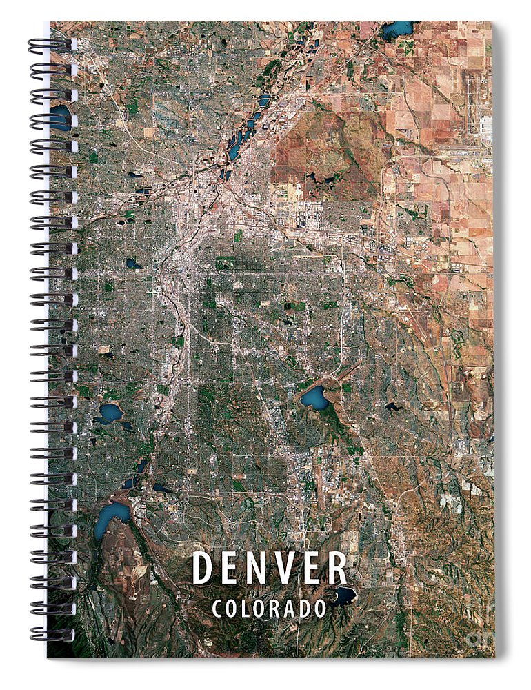 Denver 3d Render Satellite View Topographic Map Spiral Notebook For