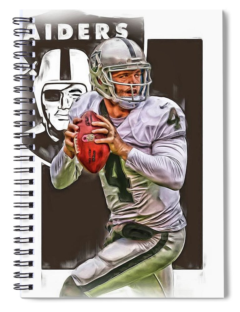 Derek Carr Spiral Notebook featuring the mixed media Derek Carr Oakland Raiders Oil Art by Joe Hamilton