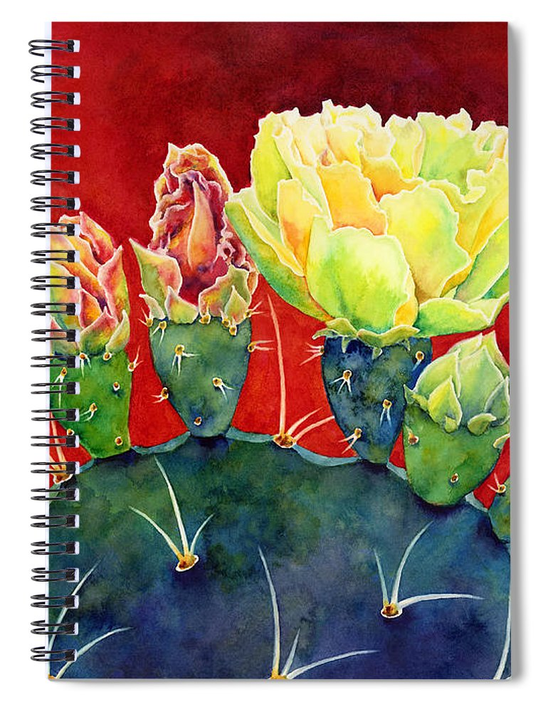 Cactus Spiral Notebook featuring the painting Desert Bloom 3 by Hailey E Herrera