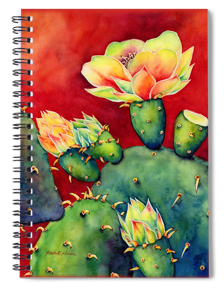 Cactus Spiral Notebook featuring the painting Desert Bloom by Hailey E Herrera