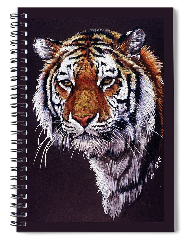 Tiger Spiral Notebook featuring the drawing Desperado by Barbara Keith
