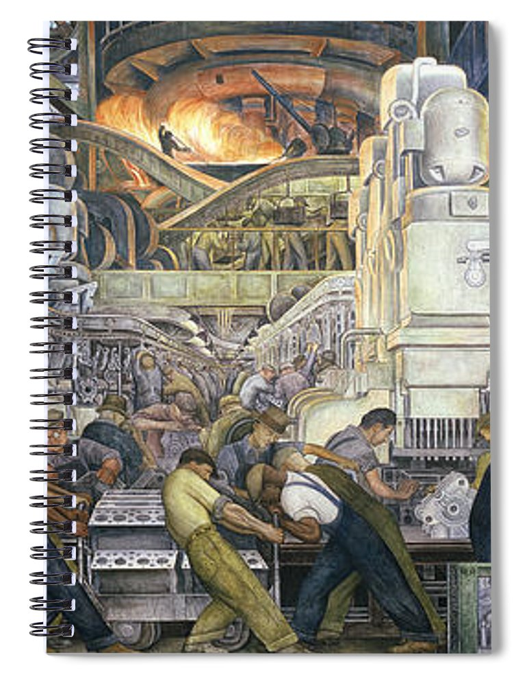 Machinery; Factory; Production Line; Labour; Worker; Male; Industrial Age; Technology; Automobile; Interior; Manufacturing; Work; Detroit Industry Spiral Notebook featuring the painting Detroit Industry  North Wall by Diego Rivera