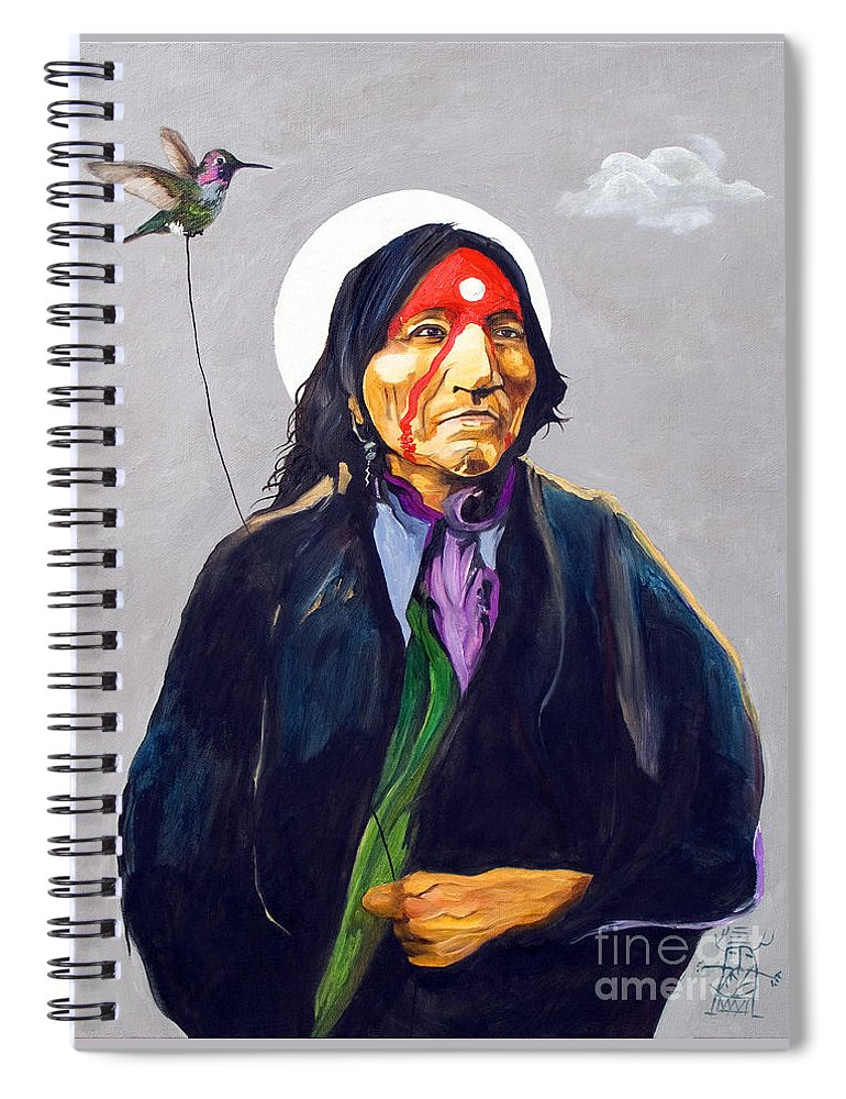 Shaman Spiral Notebook featuring the painting Direct Connection by J W Baker