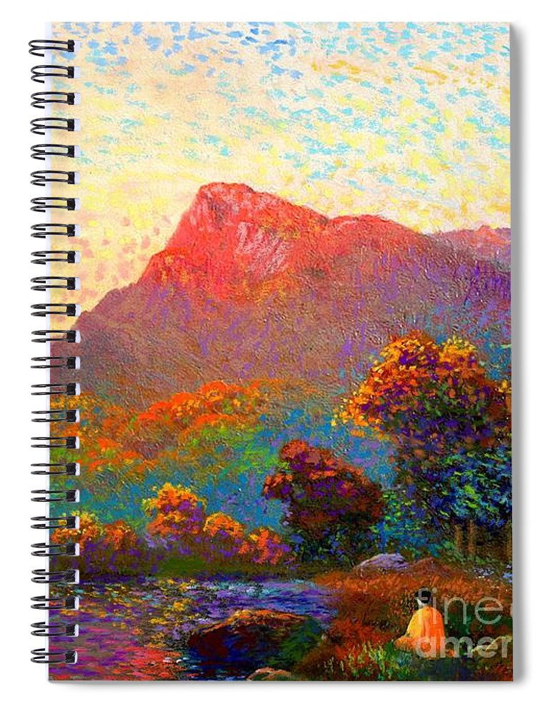 Meditation Spiral Notebook featuring the painting Buddha Meditation, Divine Light by Jane Small