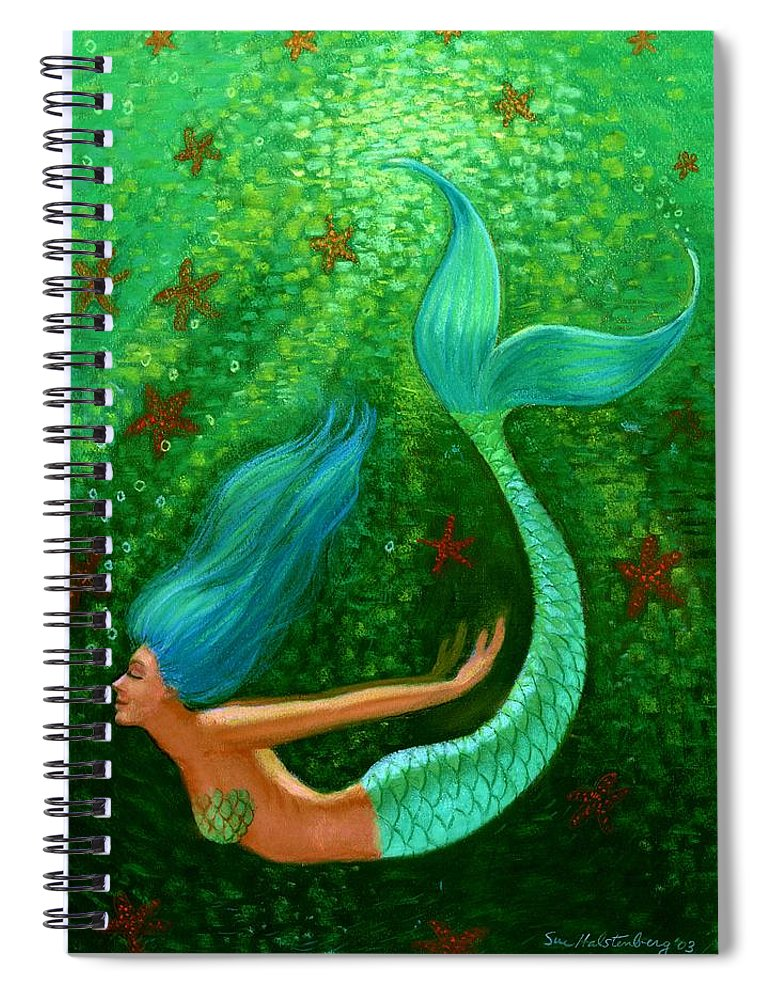 Mermaid Spiral Notebook featuring the painting Diving Mermaid Fantasy Art by Sue Halstenberg