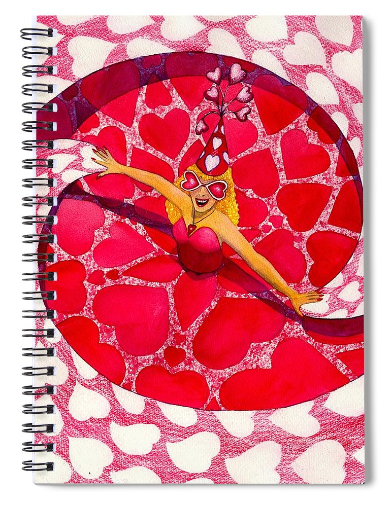 Valentine Spiral Notebook featuring the painting Do You Like My Hat by Catherine G McElroy