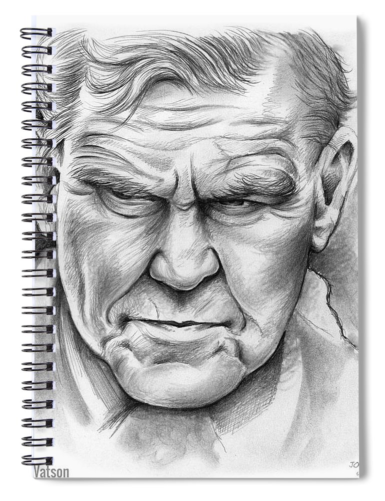 Doc Watson Spiral Notebook featuring the drawing Doc Watson by Greg Joens