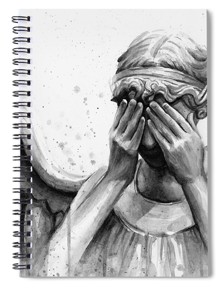Who Spiral Notebook featuring the painting Doctor Who Weeping Angel Don't Blink by Olga Shvartsur