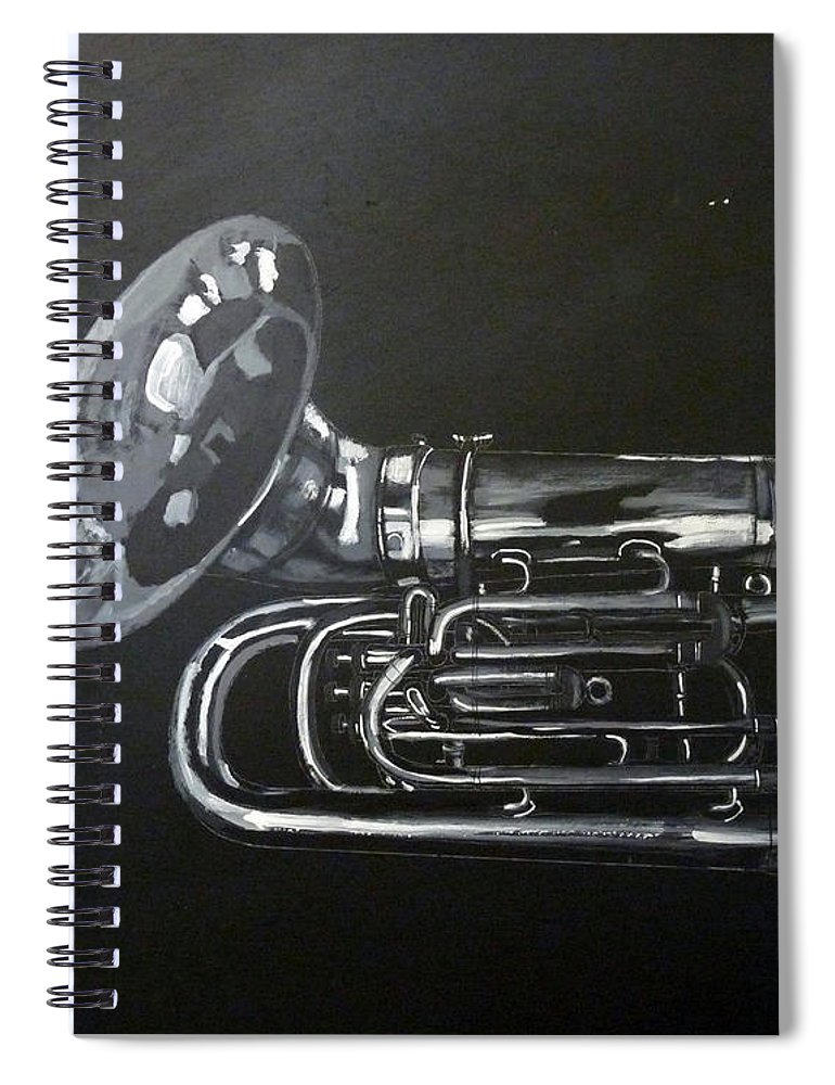 Tuba Spiral Notebook featuring the painting Don't You Dare Play That by Richard Le Page
