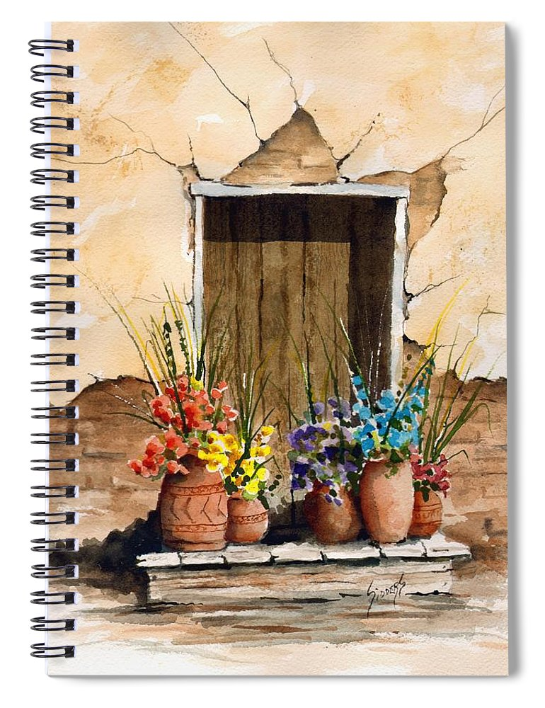 Door Spiral Notebook featuring the painting Door With Flower Pots by Sam Sidders