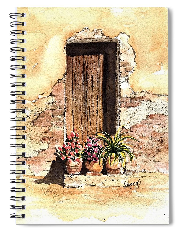 Door Spiral Notebook featuring the painting Door With Flowers by Sam Sidders