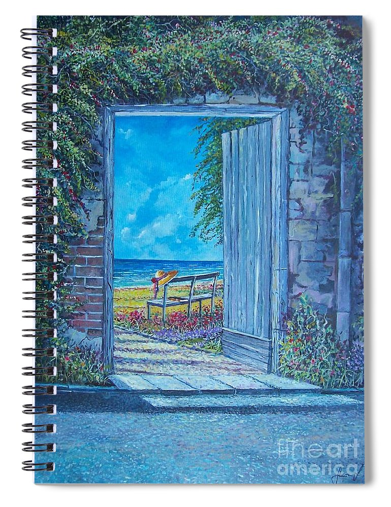 Original Painting Spiral Notebook featuring the painting Doorway To ... by Sinisa Saratlic